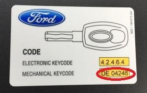 key ford ka cod